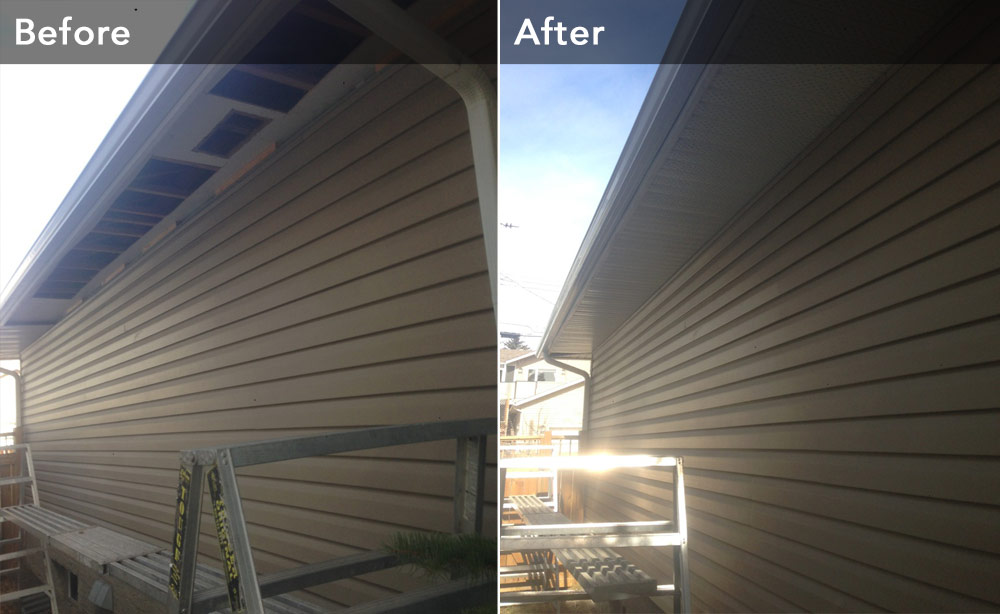 Soffit before and after installation Chinook Exteriors Calgary